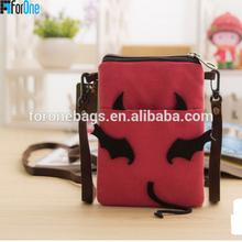 Canvas Mini bag Large screen mobile phone bag female students messenger bag