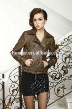 2014 Fake Garment Dye Pakistan PU leather jacket for ladies