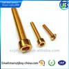Golden plated aluminum socket cap screw