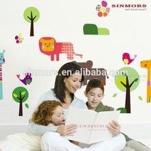 Aile ağacı ve hayvan duvar çıkartmaları çocuk odasıiçin, taşınabilir duvar dekor çıkartmaları