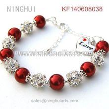 wedding accessories sale engraving pearl beaded silver plated bracelet wholesale