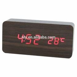 Novel design wooden LED clock for promotion