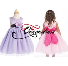 Whole Sale 2014 Latest Designs Cinderella A-line White Purple Lilac Color Organza Wedding Flower Girl Net Dress Patterns