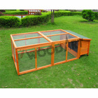 Flat roofed rectangle waterproof rabbit hutch with run