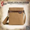 Khaki canvas pattern shoulder bag with leather trim