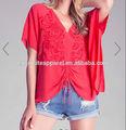 mulher decote colher de manga curta com textura estampa paisley fechadura traseira kaftan bordado blusa tops