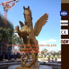 bronze horse sculpture of 5 meter high with wings by gold color painting (30years foundry)