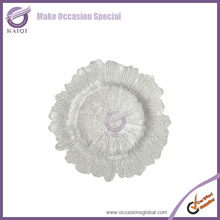 wedding decoration charger plates porcelain swirl white plate glass charger plates wholesale