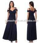 2015 fashion newly plus size design off shoulder navy party maxi dress