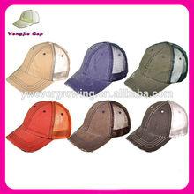 Wholesale Low Profile Unstructured Herringbone Cotton Twill Distressed Mesh Trucker Caps