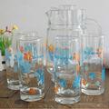Baratos flor copo de vidro impresso com jarro conjunto, vidro jarro de água