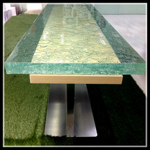 stone glass top wooden leg dining table