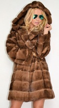 2014 new arrival woman long mink fur coat with hooded