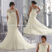 Free shipping cap sleeve beaded customize big size XL XXL lace 2015 mermaid wedding gowns CWFaw5803
