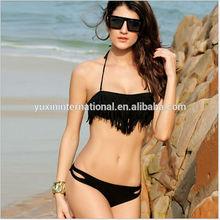 Black Tassels Sexy Girl brazilian bikini swimwear push up bikini BK013