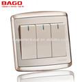 3 gang 1 way interruptor eléctrico de la pared para el hogar panel de acero inoxidable
