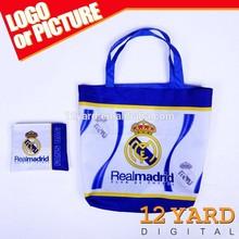Custom soccer team logo Eco-friendly reversible fashion Nylon handbag Linen Shopping Bag