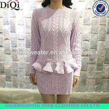 Ladies long sleeve style peplum short two piece set winter clothing of sweater dresses