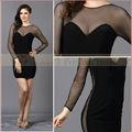 ao62714 preto sexy longo vestido de manga curta