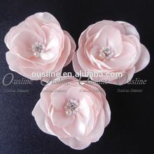 silk flower peach color,pearl rhinestone center poppy flower