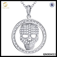 925 sterling silver jewelry,micro pave skull pendant necklace wholesales China