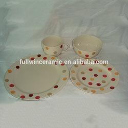Hand-painted 12-Piece Dinnerware Set ,Polk Dot