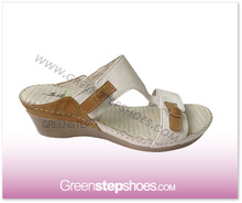 Ladies Leather Wedge Mule with One Touch Strap