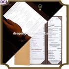 A4 and A5 restaurant menu cover,faux leather hotel menu