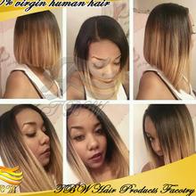 2015 New Arrival 100% human hair wig12 inch wholesale cheap short straight human hair half wigs