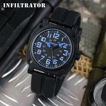 INFANTRY Men's Original Blue Black Rubber Outdoor Watch