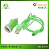 2 in 1 green charger kit cellphone coiled cable/Car charger