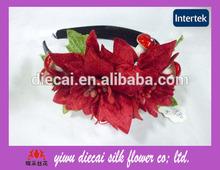 Artificial big poinsettia flower adult headbands