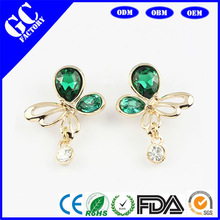 cheap fashion jewelry earrings made of copper alloy and crystal jewelry factory