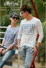 2014 Peijiaxin Fashion Design Casual Style Long Sleeve Doraemon Print Wholesale Bulk Plain White T shirts Design