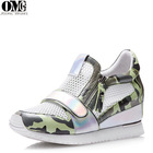 usa wholesale casual camouflage mesh metal skin upper round closed toe height increasing latest design sports shoe