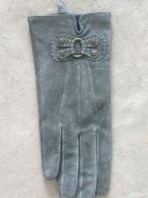 women's grey suede gloves