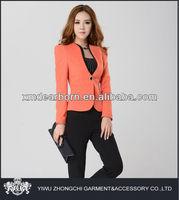 ladies orange office uniform designs 2014