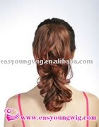 Red synthetic clip in ponytail curly hair extension, claw hair pieces