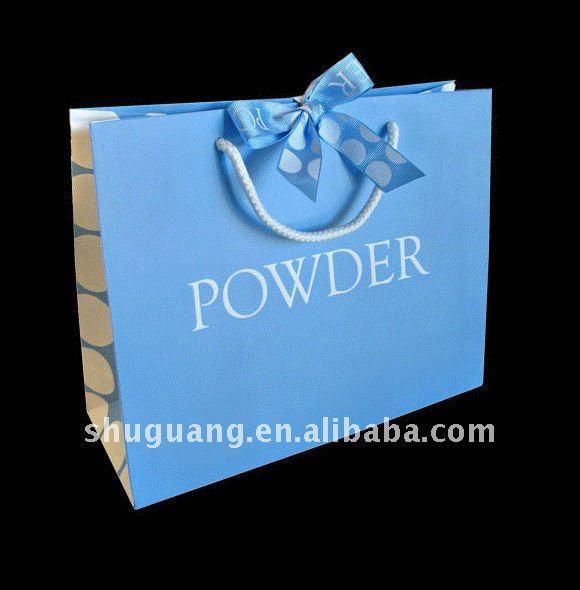 Blue Luxury Paper Printed Shopping Bag (SGZ034)