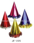 Cone shapes foil paper party hat with laser lace/fringe,Party cone