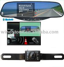 Bluetooth Handsfree Car Kit 3.5 inch TFT Monitor Rearview Mirror Night Vision Car Camera