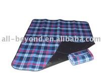 blue plaid color waterproof picnic polyester blanket (RSC-7009)