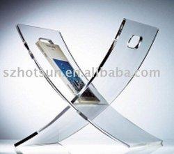 good appearance hot sale clear cross shape acrylic magazine holder