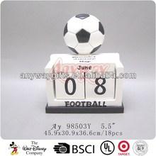 Polyresin craft football world cup desk calender 2014