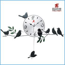 Metal Clock Wall Iron Bird Pendulum Clock Design Silent Sweep/Step Art Clock