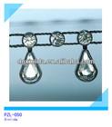 plastic strass crystal rhinestone tassels trim