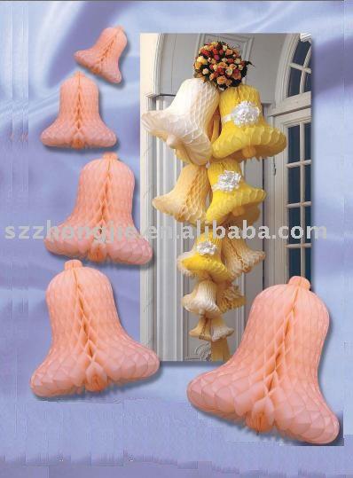 Boda campana de papel, campana tejido \ panal decoración