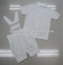 100% cotone off- bianco fatto a mano affumicata bambino ragazzo vestito abiti