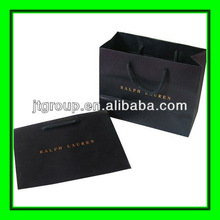 embossed logo hot stamping printing paper Promotional Eco friendly foldable shopping bag