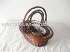 brown wicker basket with plastic liner